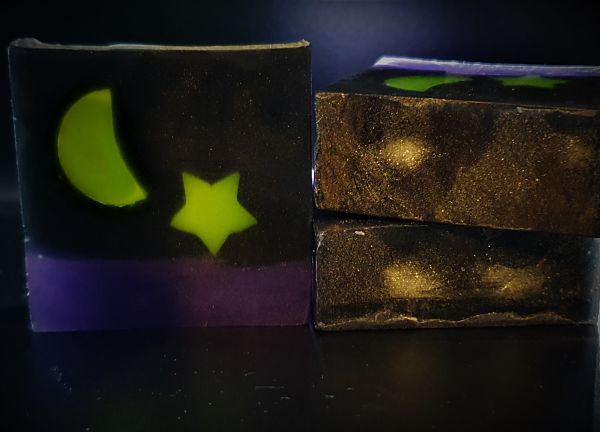 Night Sky Glycerin soap with activated charcoal