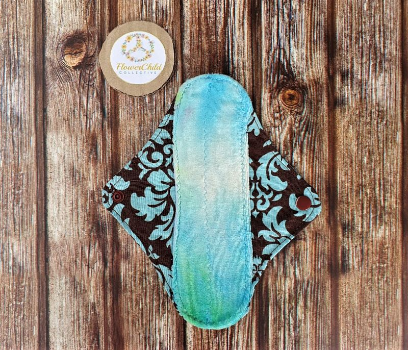 Hand dyed bamboo velour Light/Liner cloth pad- Blue damask