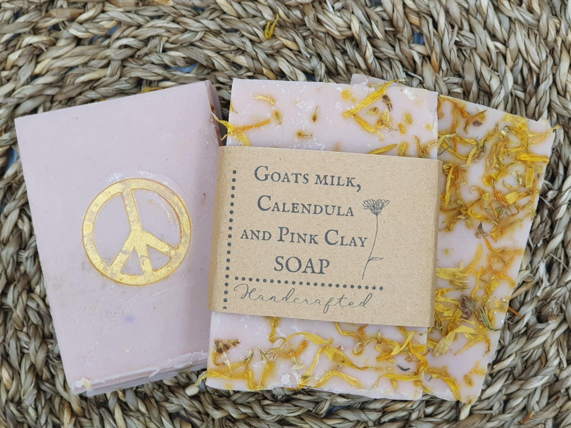 Goats milk, Calendula and Pink clay soap
